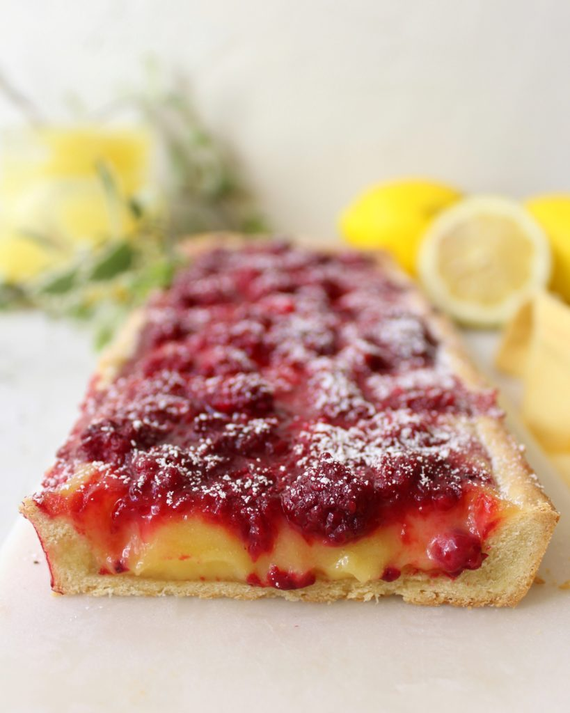 Lemon tart with tayberries, lemon curd