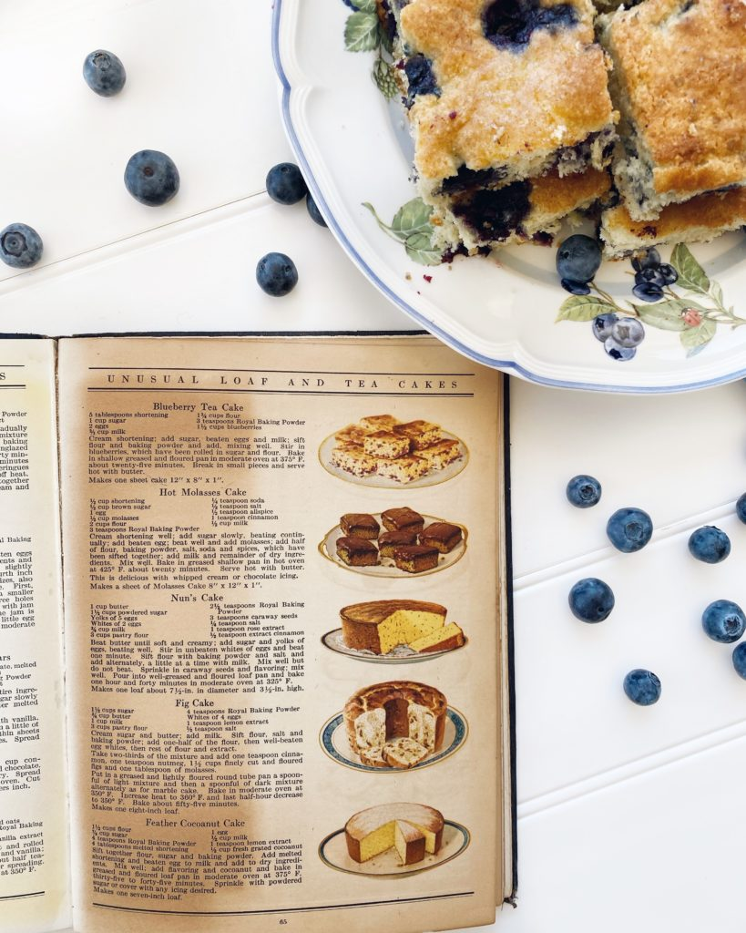 Blueberry Tea Cake with Blueberries, image of cookbook with recipe.