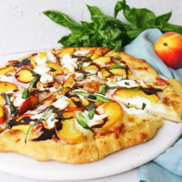 Peach and Burrata Pizza