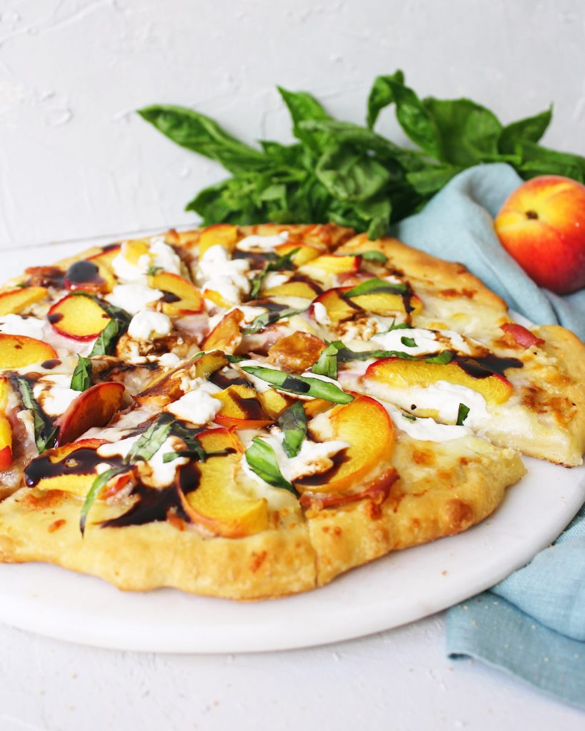 Peach Burrata Pizza With Prosciutto Basil And Balsamic Glaze Anchored Baking