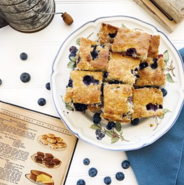 Blueberry Tea Cake with Vintage Cookbook in scene