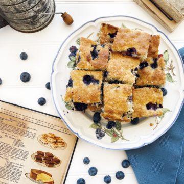 Blueberry Tea Cake with Vintage Cookbook in scene