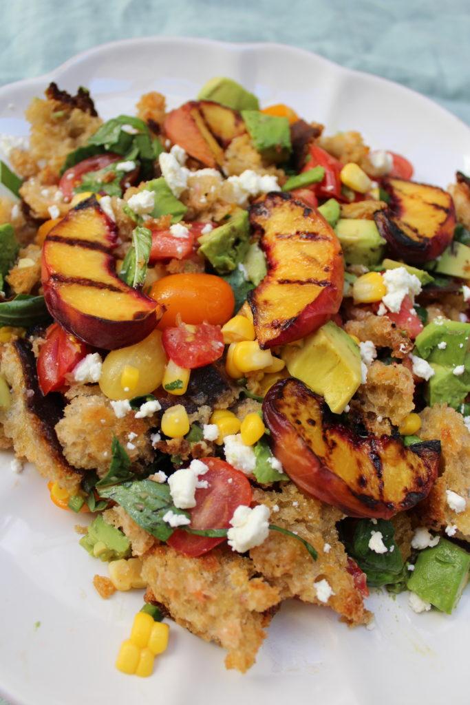 Grilled peach panzanella salad