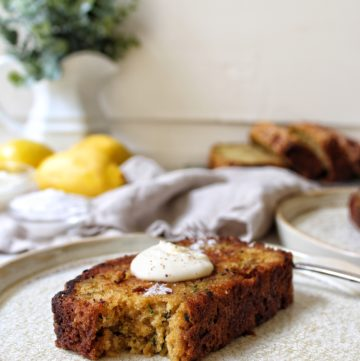 Lemon Ginger Zucchini Bread with creme fraiche