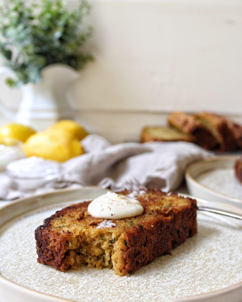 Lemon Ginger Zucchini Bread with creme fraiche