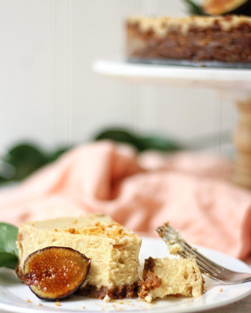 Slice of Cinnamon Mascarpone Cheesecake with BrûléedFigs