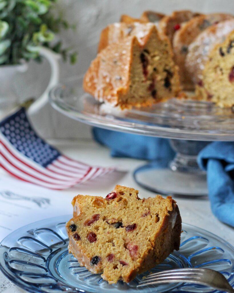 Slice of election cake, bundt cake