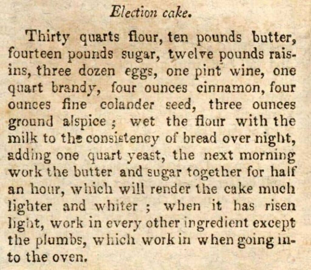 Recipe for Election Cake from American Cookery