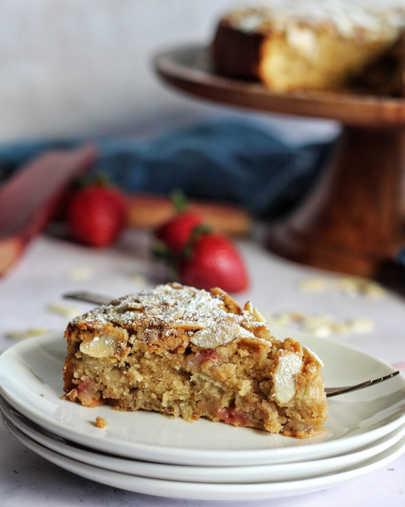 Slice of strawberry rhubarb cake