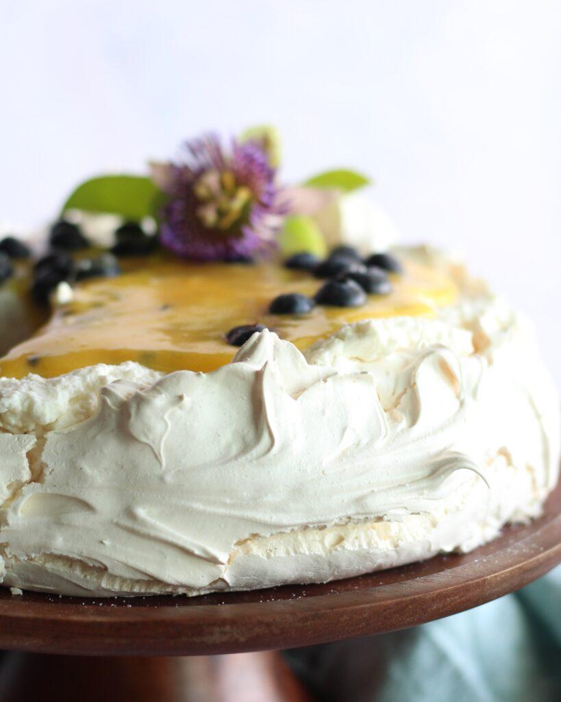 Close up of the side of pavlova cake